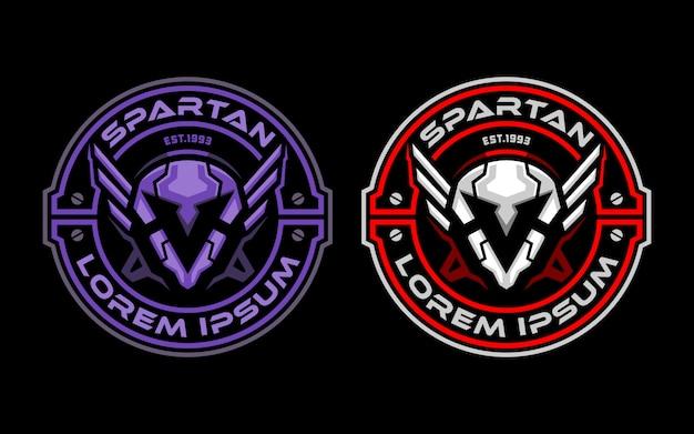 Spartanisches roboterkopfabzeichen