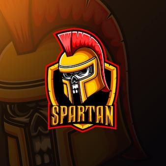 Spartanisches schädelmaskottchen und sportlogodesign
