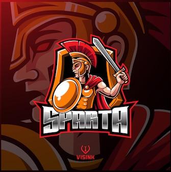 Spartanisches sportmaskottchen-logo