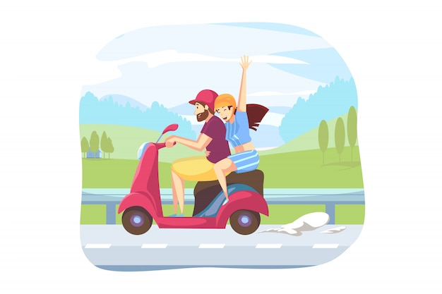 Spaß, fahren, straßenreisekonzept Premium Vektoren
