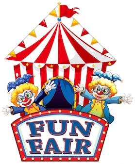 Spaß faires zeichen mit glücklichen clowns