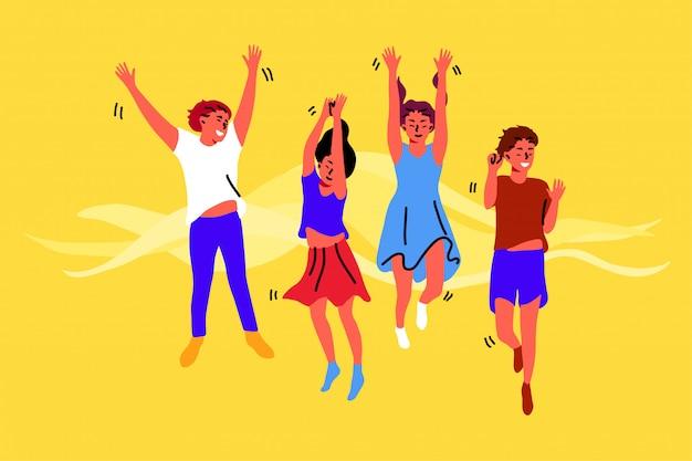 Spaß, feier, freundschaft, glück, kindheitskonzept Premium Vektoren