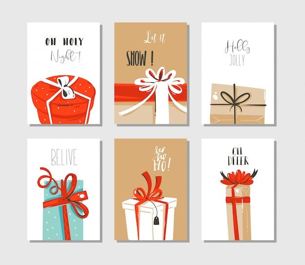 Spaß frohe weihnachten zeitkarten oder tags sammlung mit niedlichen illustrationen von überraschungsgeschenkboxen und modert typografie auf bastelpapier hintergrund isoliert