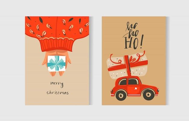 Spaß frohe weihnachten zeitkarten-sammlung mit niedlichen illustrationen und überraschungsgeschenkboxen lokalisiert auf kraftpapierhintergrund.