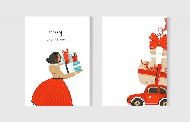 Spaß frohe weihnachten zeitkarten sammlung mit niedlichen illustrationen und überraschungsgeschenkboxen lokalisiert auf weißem hintergrund
