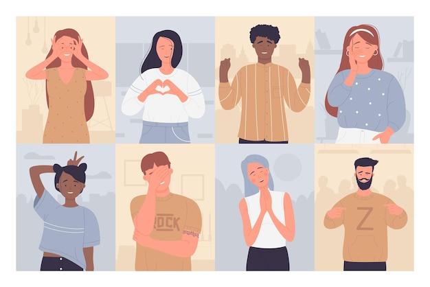 Spaß leute vektor-illustrationssatz. karikatur glücklicher mann frau charaktere lächelnd, gestikulierend mit fingerhänden, positive personen berühren gesicht oder zeigen