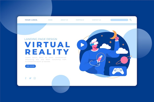 Spaß mit der landingpage des virtual-reality-headsets