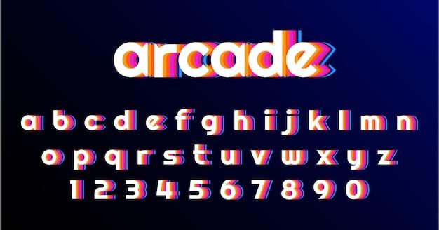 Spaß-retro spiel-guss-alphabet-satz