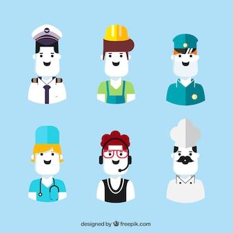 Spaß satz von modernen jobs avatare