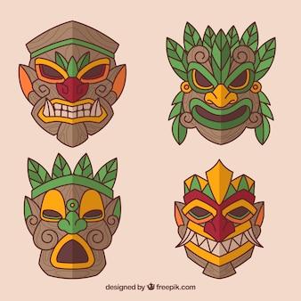 Spaß satz von smiley tiki masken
