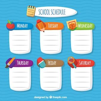 Spaß wöchentlicher zeitplan mit flachem design