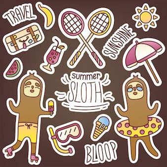 Spaßaufkleberpackung mit faultier im sommerthema. nette saisonale bilder, um ihr tagebuch zu dekorieren. reisen, freizeit, unterhaltung, sport, essen, süßigkeiten, schwimmen, sonnenbaden. online-shop-design.