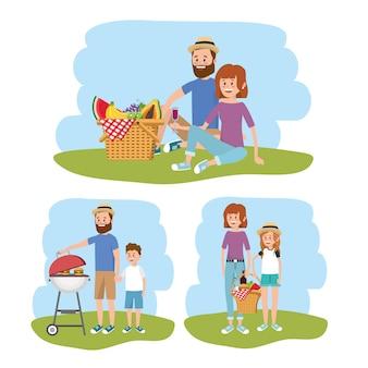 Spaßfamilie zusammen mit picknickkorb