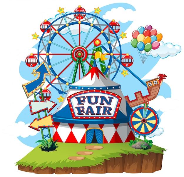 Spaßmesse-freizeitpark auf lokalisiertem hintergrund