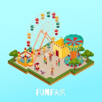 Spaßmesse mit besucherzirkusleistung und attraktionen auf isometrischer illustration des blauen hintergrunds
