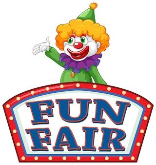 Spaßmesse-zeichenschablone mit glücklichem clown im hintergrund
