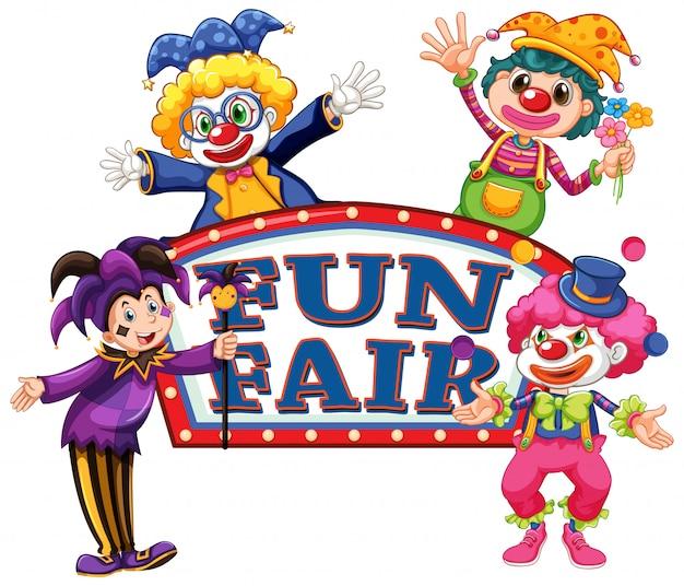 Spaßmesse-zeichenschablone mit vier glücklichen clowns