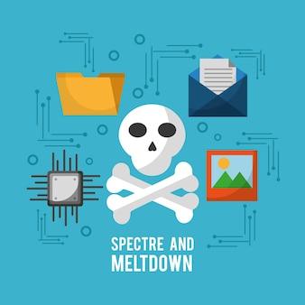 Spectre und kernschmelze schädel e-mail-bild-schaltkreise