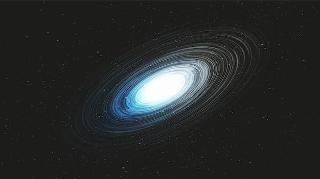 Speed blue light black hole auf galaxy background.planet und physikkonzeptdesign, vektorillustration.