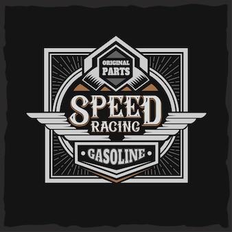Speed racing label mit schriftzug auf dunkel