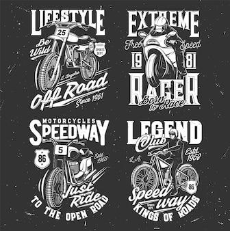 Speedway- und motocross-t-shirt-drucke, radrennen
