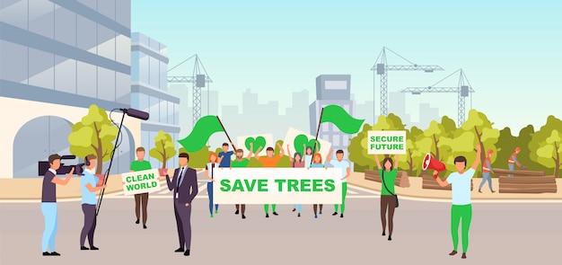 Speichern sie bäume soziale protestillustration. ökologische bewegung, umweltschutzveranstaltungskonzept. demonstranten mit plakaten auf der straße, die gegen illegale bauarbeiten und abholzung protestieren