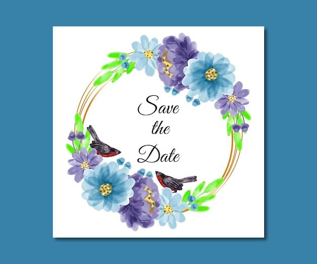 Speichern sie das datum aquarell blau lila blumen