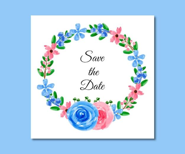 Speichern sie das datum aquarell blau rosa blumen