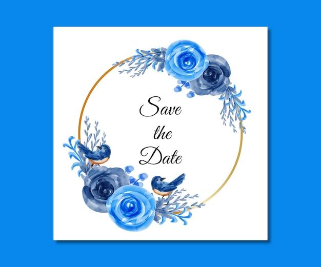 Speichern sie das datum aquarell blaue blumen