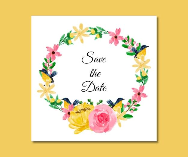 Speichern sie das datum aquarell gelb rosa blumen