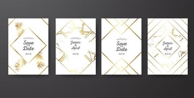 Speichern sie das datum, das goldene schablone wedding ist