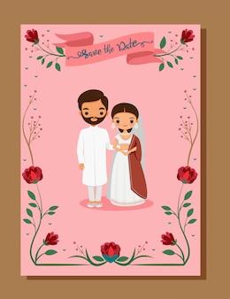 Speichern sie das datum, indische hochzeitskarte mit niedlicher braut und bräutigam im traditionellen kleid auf hochzeitseinladungskartenschablone