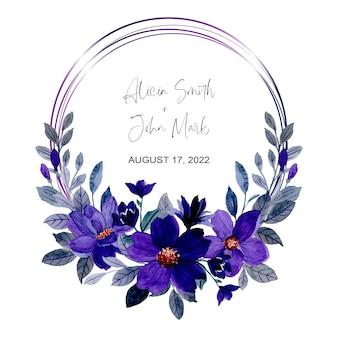 Speichern sie das datum lila blumenaquarellkranz
