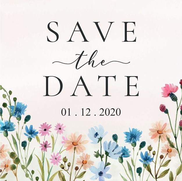 Speichern sie das datum mit aquarell-wildblumen-rahmen