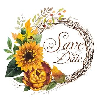 Speichern sie das datum mit kranz sonnenblume aquarell