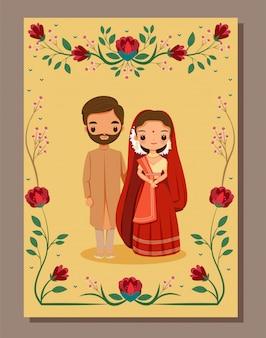 Speichern sie das datum, niedliche indische braut und bräutigam im traditionellen kleid auf blumenhochzeit invitatioin kartenvorlage