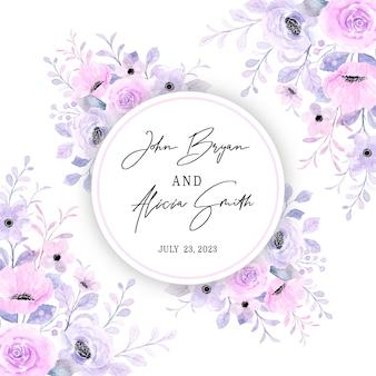 Speichern sie das datum schöne rosa lila blumenrahmen mit aquarell