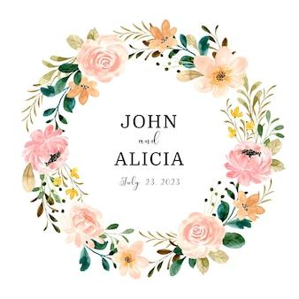 Speichern sie das datum schöner rosenblumenkranz mit aquarell