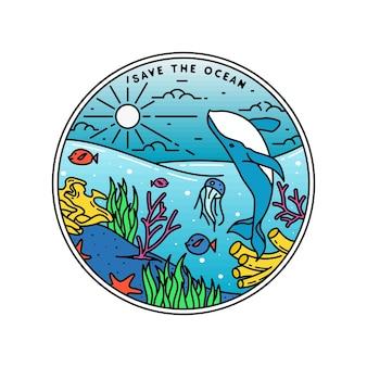 Speichern sie das ozean-monoline-abzeichen