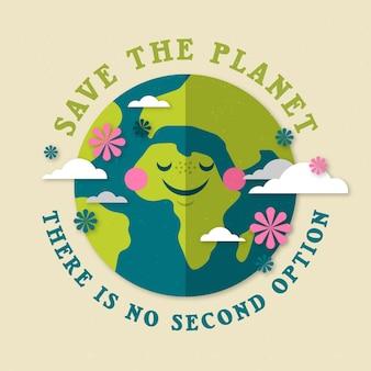 Speichern sie das planetenkonzept mit dem lächeln der erde