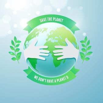 Speichern sie das planetenkonzept mit händen über dem planeten