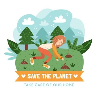 Speichern sie das planetenkonzept mit person, die bäume pflanzt