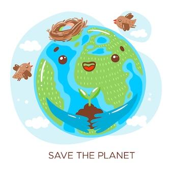 Speichern sie das planetenkonzept