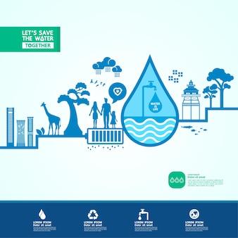 Speichern sie das wasser für grüne ökologie-weltbanner