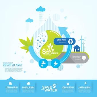 Speichern sie das wasser, infografik poster vorlage