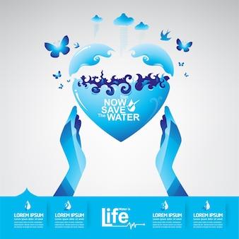 Speichern Sie das Wasser-Konzept Wasser ist Leben