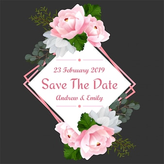 Speichern sie den datums-blumenrahmen mit schöner rosa pfingstrose