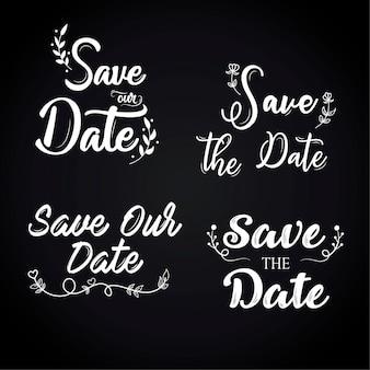 Speichern sie den datumsbeschriftungssatz