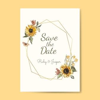 Speichern Sie den Datumshochzeits-Einladungsmodellvektor