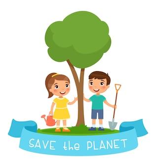 Speichern sie den planeten illustration. junge und mädchen mit gießkanne und schaufel zum pflanzen des sämlings